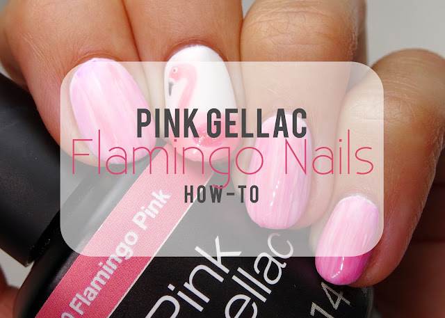 Pink Gellac Flamingo Nail art