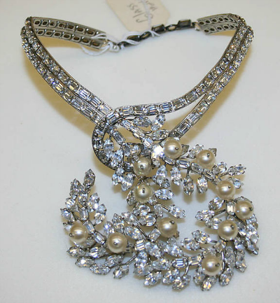 Blue pearl and rhinestone necklace by Yves Saint Laurent for House of Dior