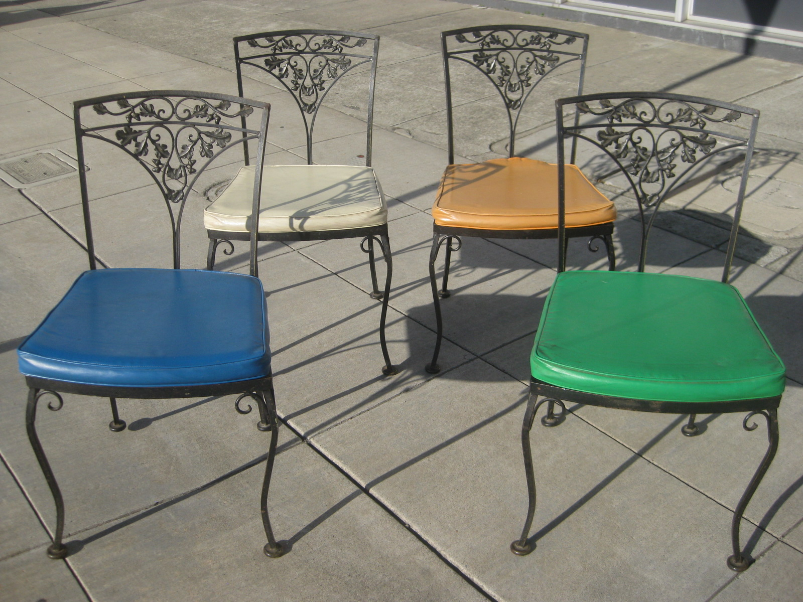 Iron Patio Chairs Uhuru Furniture And Collectibles Sold Four Wrought Iron
