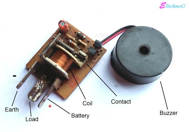 How Musical Electronic Flasher work? Inside a Musical Electronic Flasher. Internal Parts of Musical Electronic Flasher, buzzer, relay coil