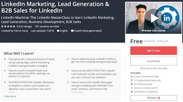 [100% Off] LinkedIn Marketing, Lead Generation & B2B Sales for LinkedIn| Worth 194,99$