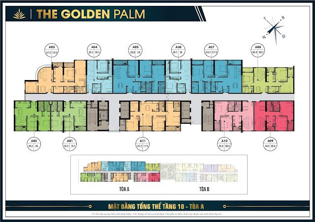 Mặt bằng tầng 10 tòa A The Golden Palm