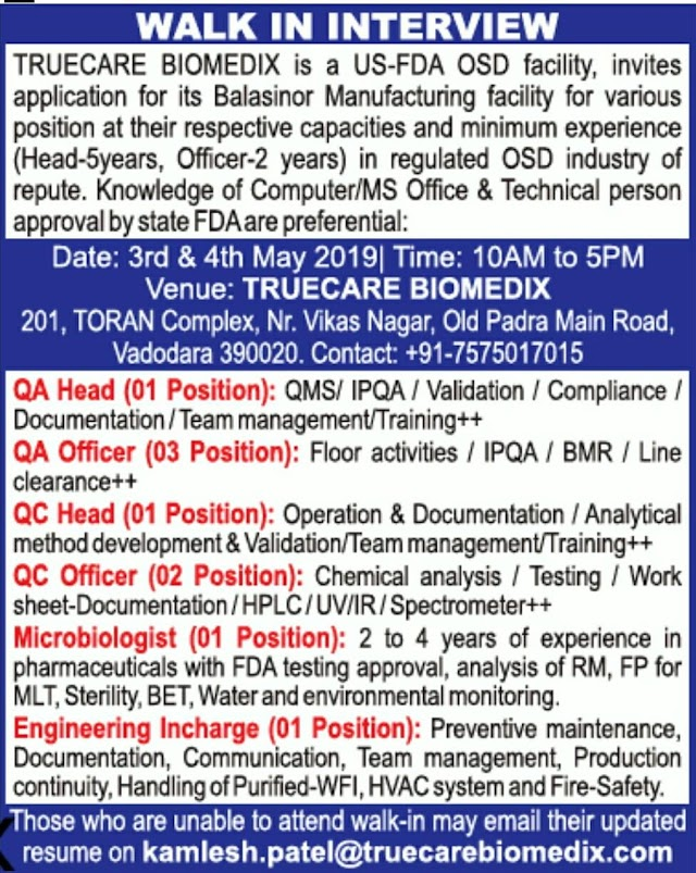 TRUECARE BIOMEDIX - Walk-In Interviews for QA / QC / Microbiologist / Engineering on 3rd - 4th May' 2019
