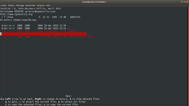 Liste des fichiers dans TestDisk