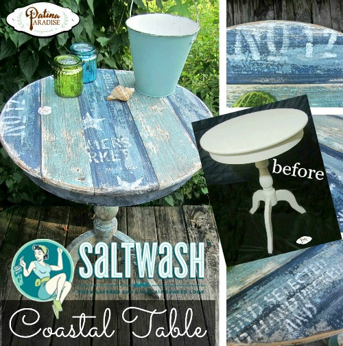 DIY Weathered Patina and Faux Planks for a Coastal Table Makeover