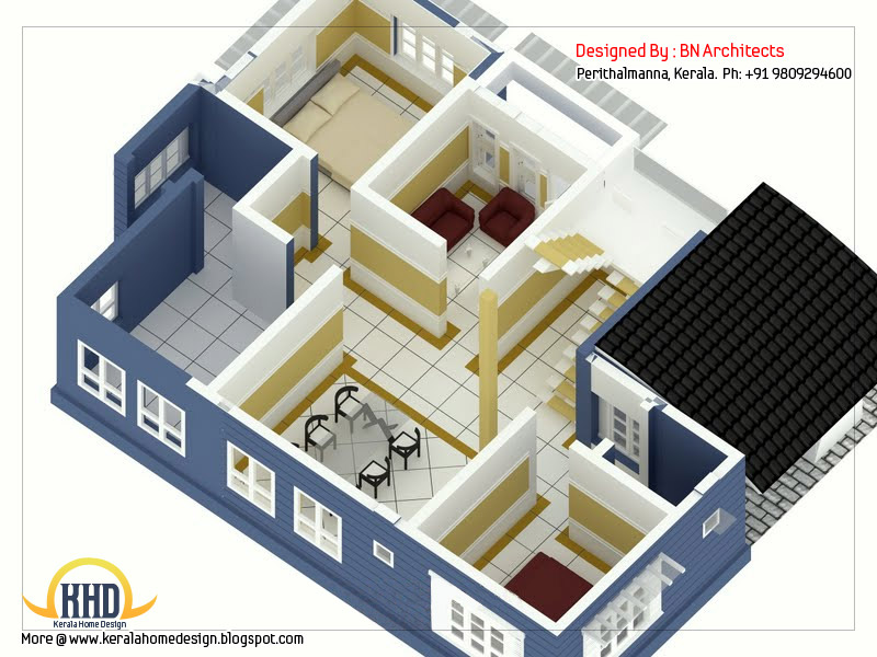 2 storey house design with 3d floor plan - 2492 Sq Feet home - 3d house plans
