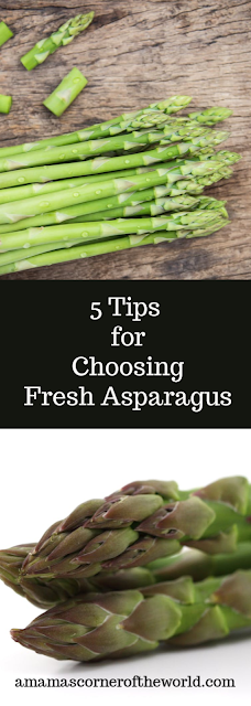Pinnable image for choosing and using fresh asparagus