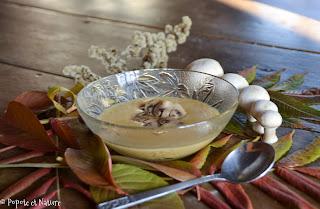 Crème de courge butternut aux champignons de Paris © Popote et Nature