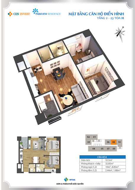 Thiết kế căn hộ 08 chung cư Park View Residence