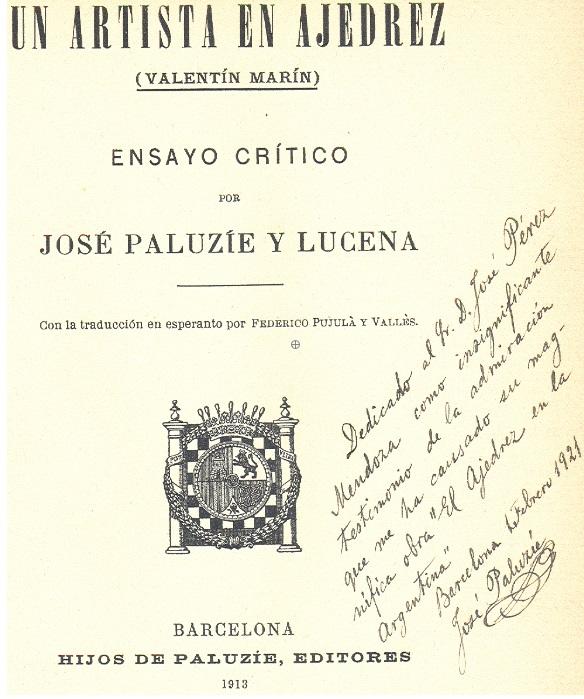 Dedicatoria de José Paluzíe en el libro 'Un artista en ajedrez'
