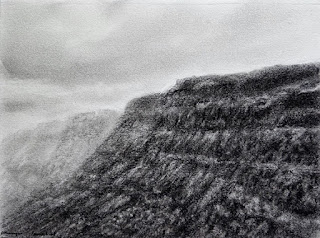 Charcoal drawing and sketching of a scene from Malshej Ghat, Maharashtra by Manju Panchal