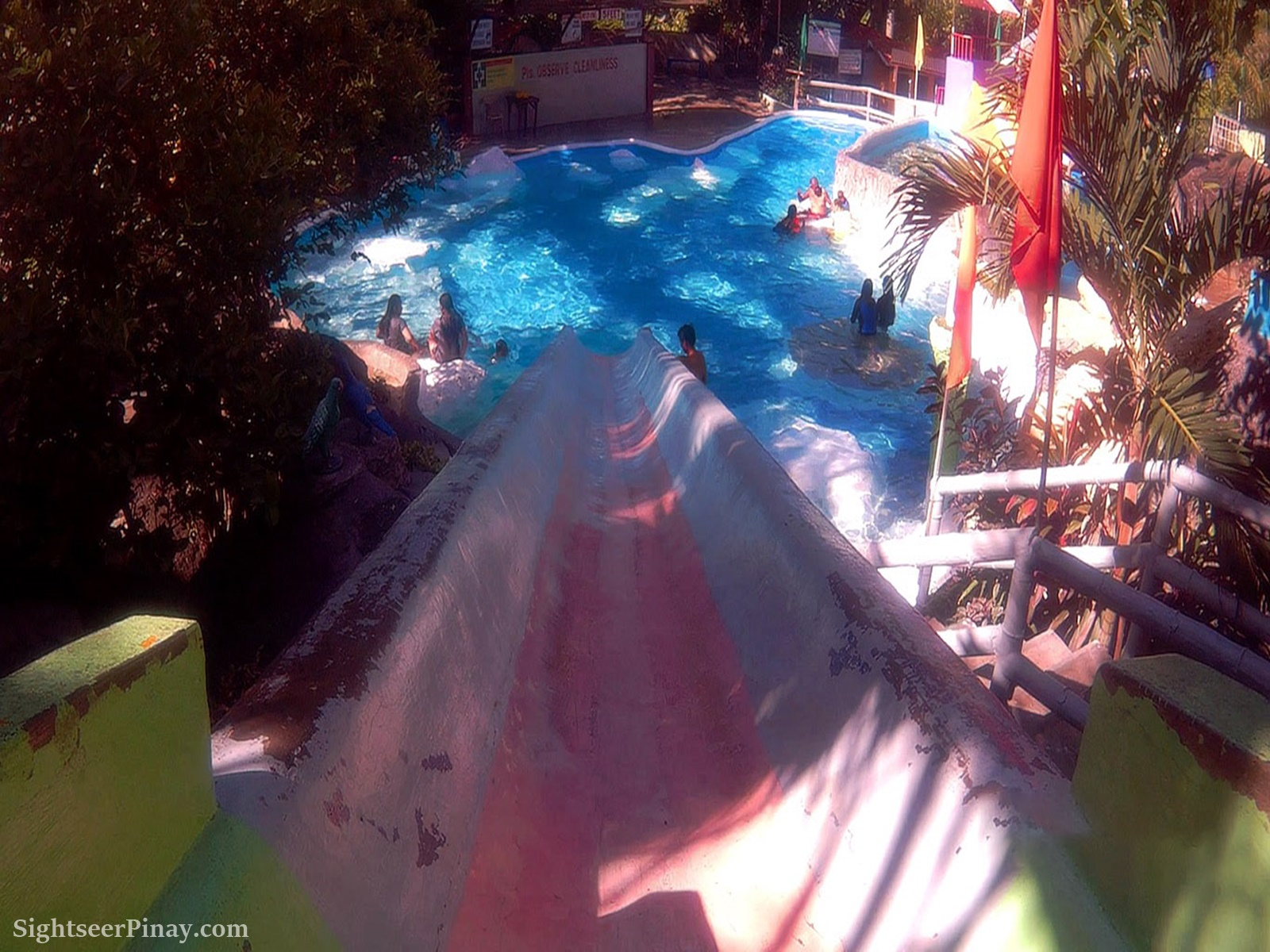 The view as captured atop the slide of a five feet pool.