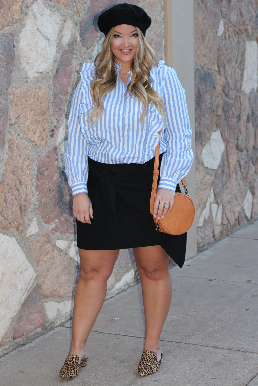 French Style: Blue striped Shirt and Black Skirt by popular Denver fashion blogger Delayne Denaye