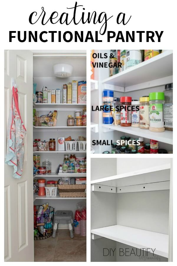 add custom shelves for functional storage in a pantry