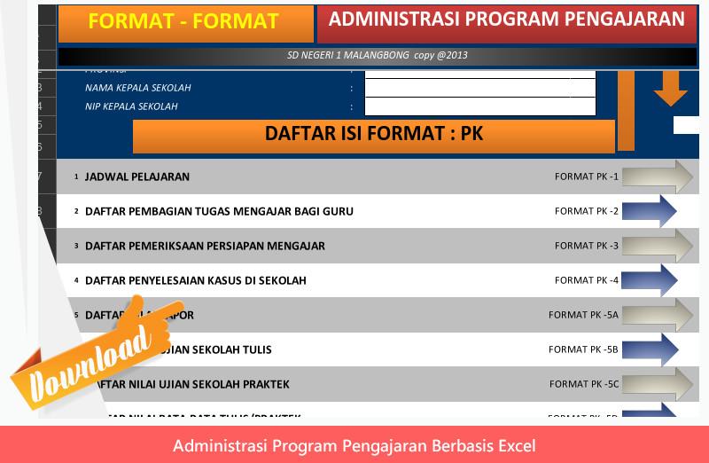 Aplikasi Administrasi Program Pengajaran Guru Kelas dan Bidang Studi berbasis Exel Format Lengkap