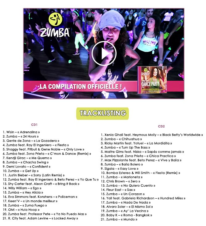 ZUMBA FITNESS Dance Party 2016 - Tracklisting