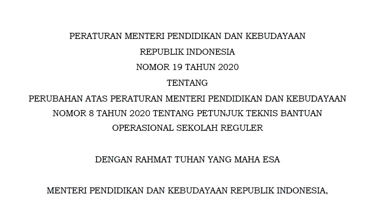 permendikbud nomor 19 tahun 2020