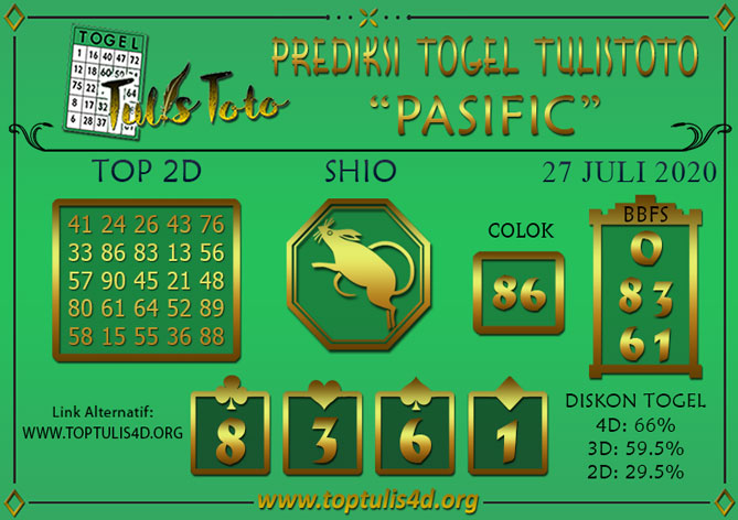 Prediksi Togel PASIFIC TULISTOTO 27 JULI 2020