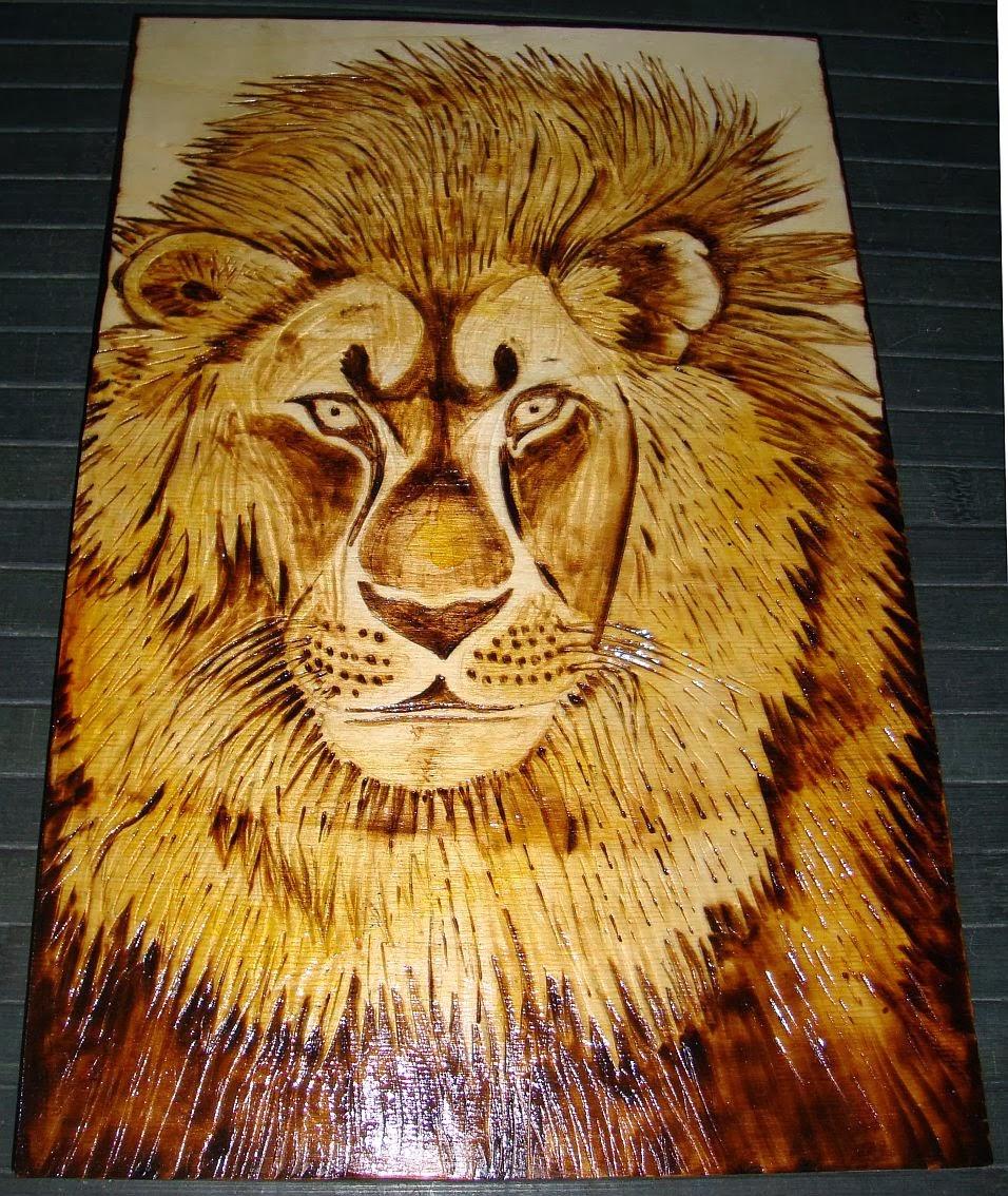 leão - rei dos animais - em pirogravura (madeira queimada)