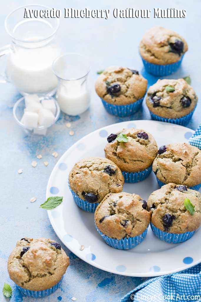 Avocado Blueberry Oatflour Muffins recipe