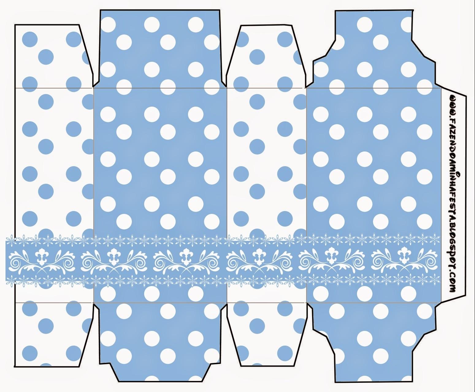 Cajas de Celeste con Lunares Blancos para imprimir gratis.