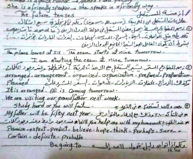 بخط اليد مراجعة جرامر اللغة الإنجليزية لـ امتحان الثانوية العامة 20016 فى 12 ورقة 7