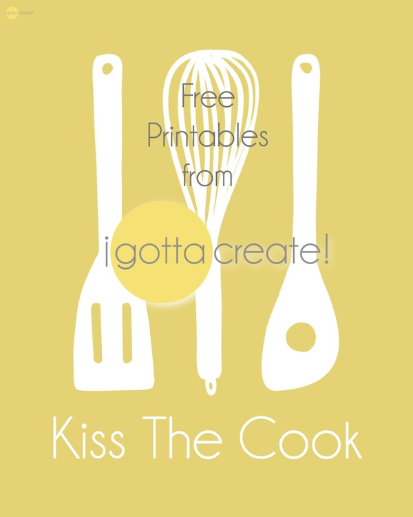 Kiss the Cook vintage kitchen utensil printables in 3 varieties at I Gotta Create!