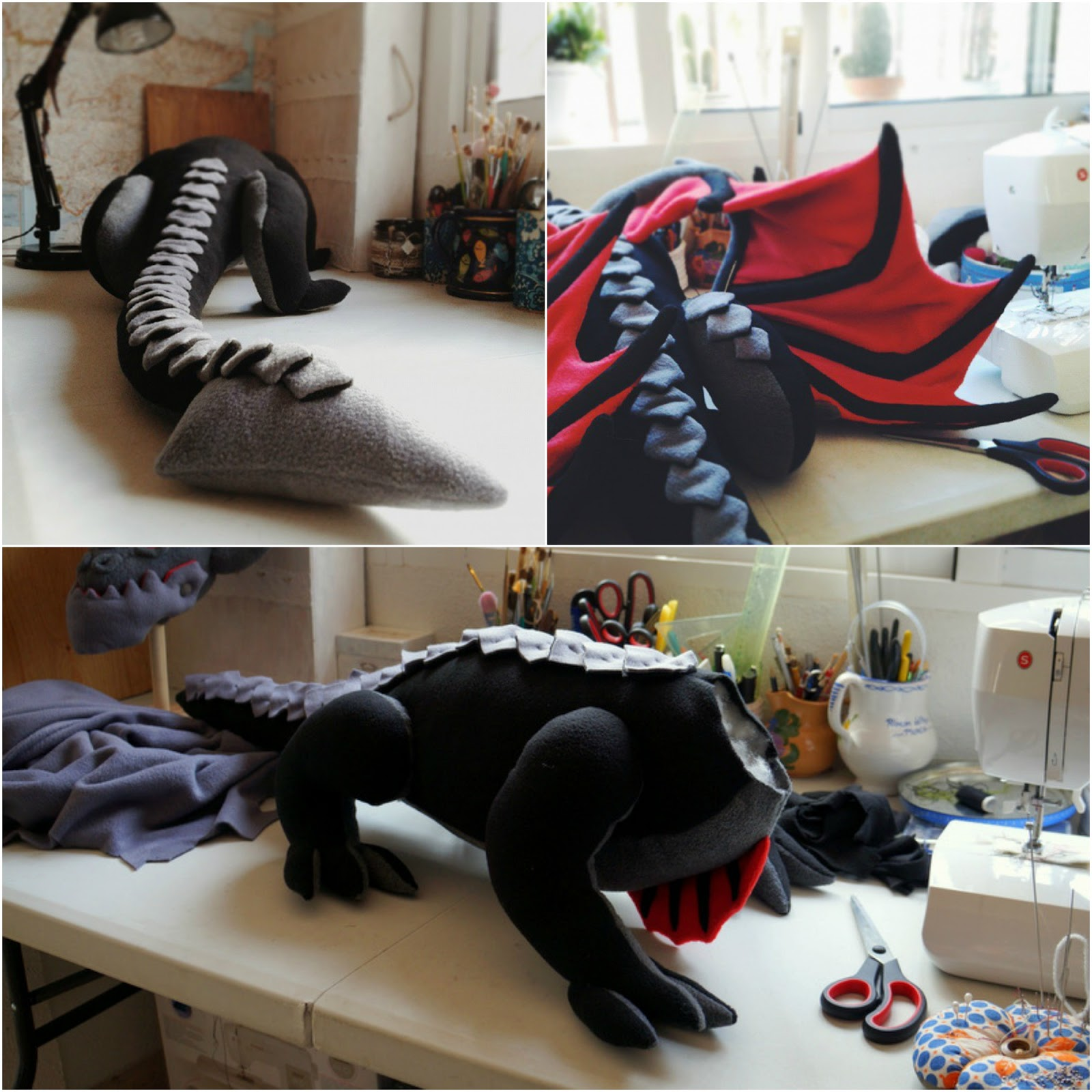 Peluche Deathwing, el dragón de World of Warcraft, cuerpo en proceso.