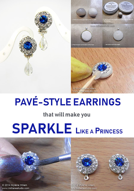 Princess Diana inspired pavé crystal earrings project sheet