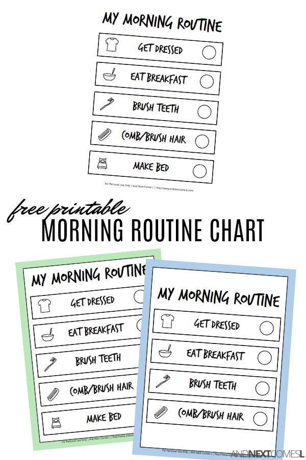 Free Printable Morning Visual Routine Chart for Kids And Next Comes L