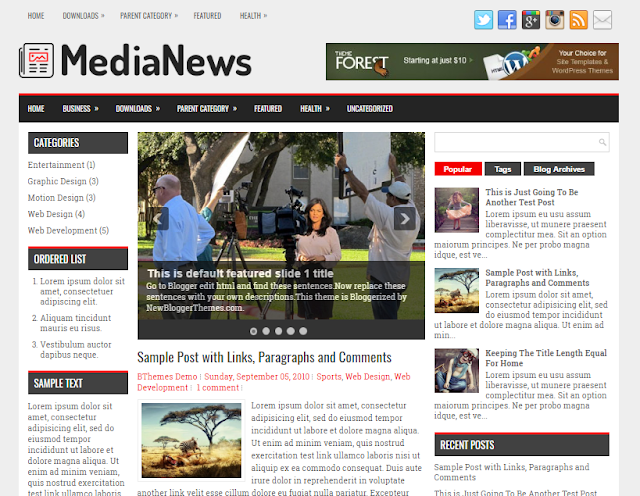 MediaNews Blogger Template