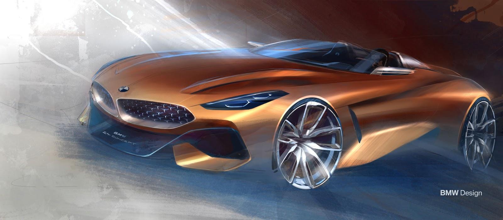 BMW Z4 sketch by Calvin Luk front quarter view