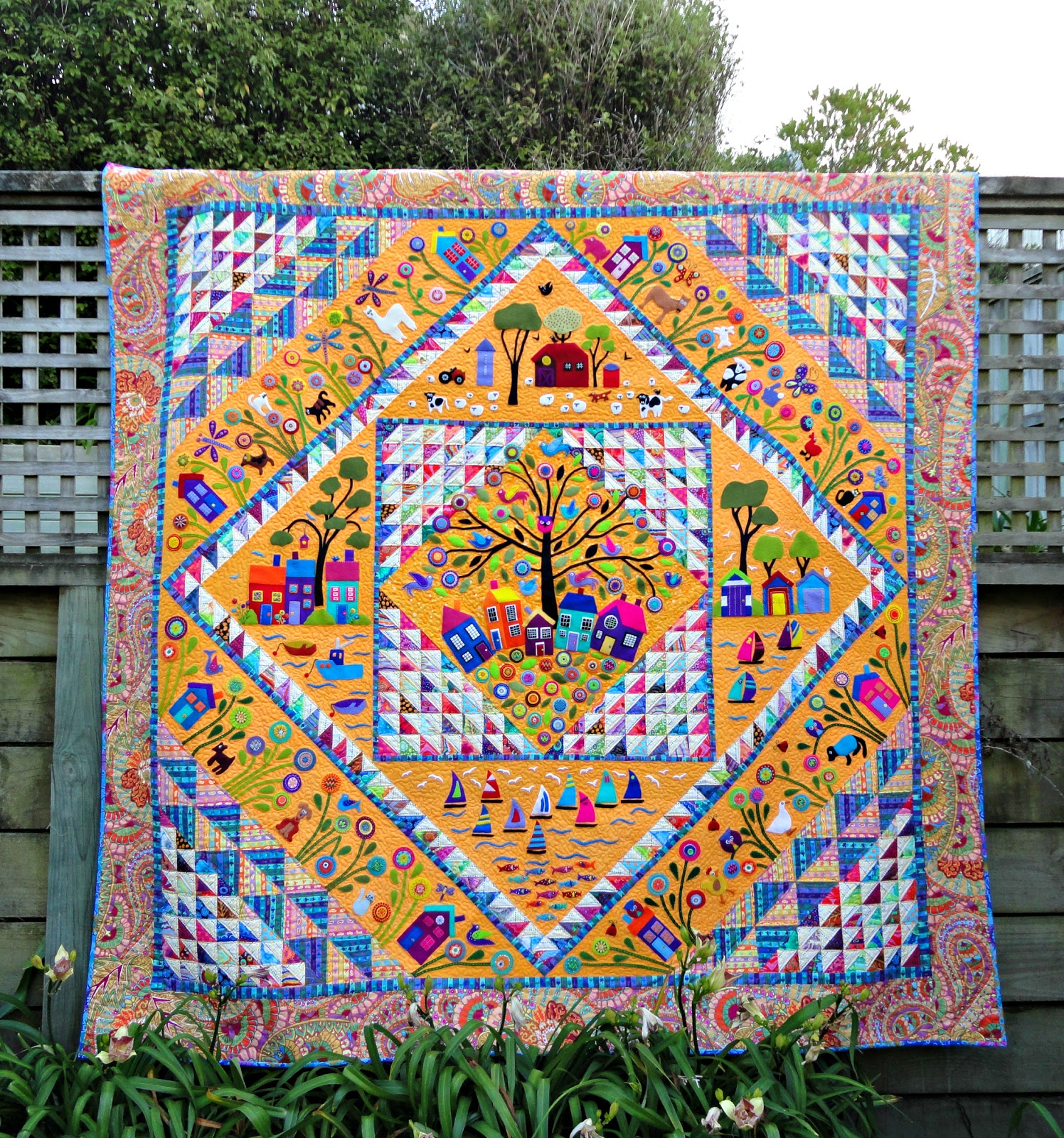 Flying Fish Gum Leaves in the Pool CLEARANCE applique quilt PATTERN