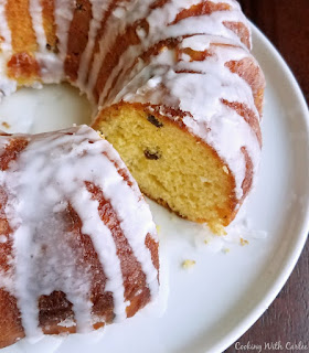 ring of lemon babka bread with icing