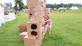 This is our box wall created at the end of the festival for children to run into and push over. It was quite a hit, with the children and the adults. It's not often you get invited into destruction.