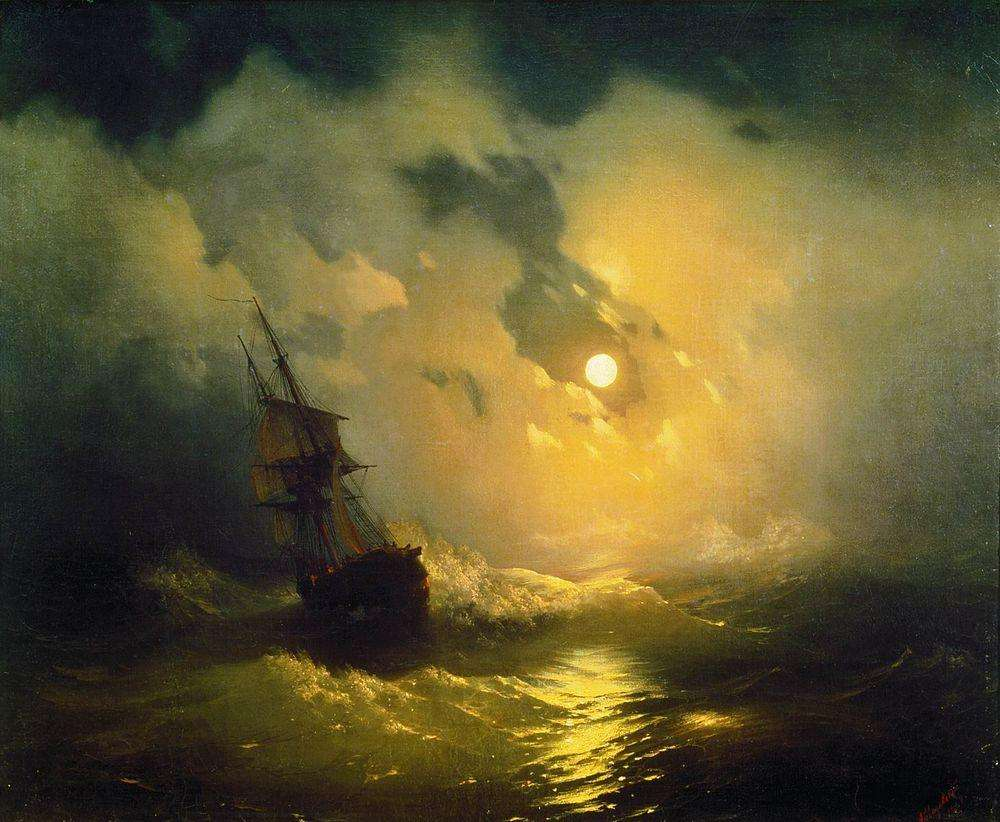 11-Storm--Sea-at-Night-1849-Ivan-K-Aivazovsky-Иван-К-Айвазовский-Paintings-of-the-Sea-from-1840-to-1900-www-designstack-co
