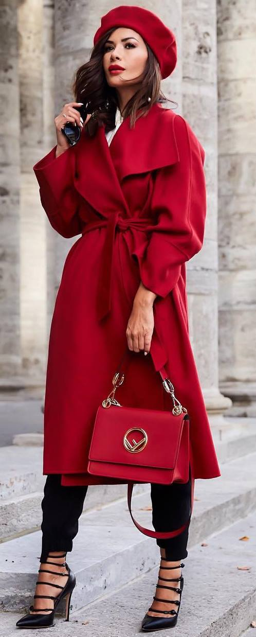 fashion trends inspiration / red coat + bag + hat + heels + black pants