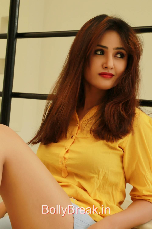 High Quality Sony Charishta Pics, Sony Charishta in Denim Shorts - Hot Photoshoot Images in Yellow Shirt