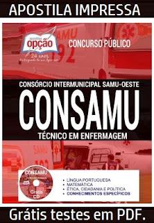 Apostila CONSAMU Técnico em Enfermagem Impressa  Grátis Testes em PDF