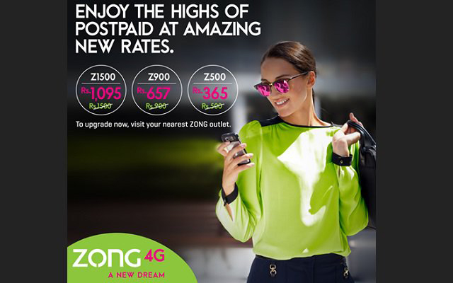 Zong Offers 27% Discount on Monthly 4G Postpaid Packages
