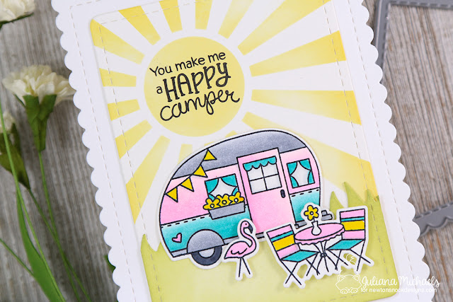 Happy Camper Card by Juliana Michaels featuring Newton's Nook Designs Cozy Camper Stamp Set and Sunscape Stencil