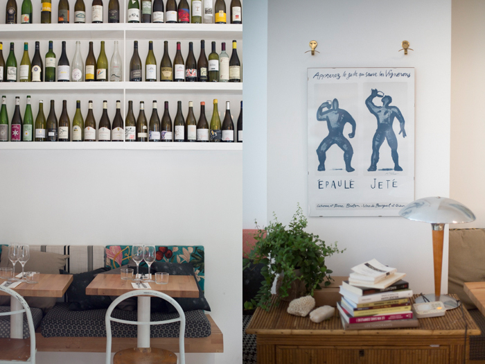 Restaurant decor with wine bottles. Modern and vintage work together to create cozy atmosphere