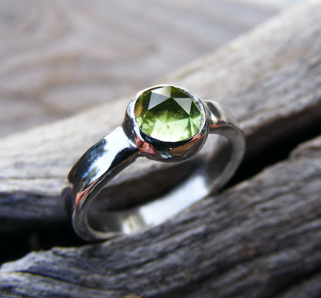 peridot rose cut gemstone ring