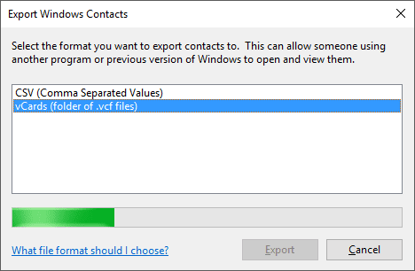Converting contacts to vCards