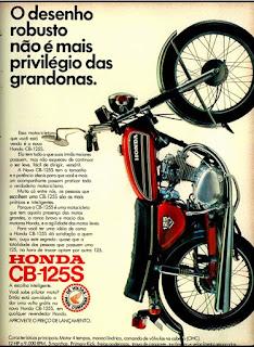 propaganda moto Honda CB-125S - 1973, motos honda anos 70, motos década de 70, Oswaldo Hernandez,