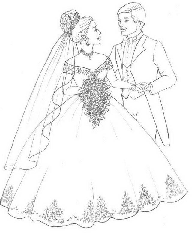 Colorea tus dibujos pareja de novios para colorear for Coloring pages wedding