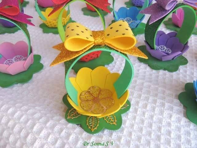 Ide membuat tas menggunakan bahan dasar foam  berbentuk tas bunga