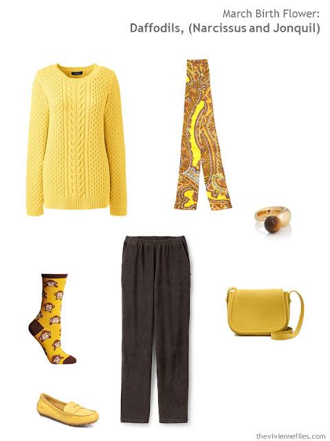 wearing daffodil yellow with brown