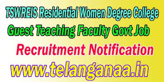TSWREIS Residential Women Degree College Guest Teaching Faculty Recruitment Notification 2016