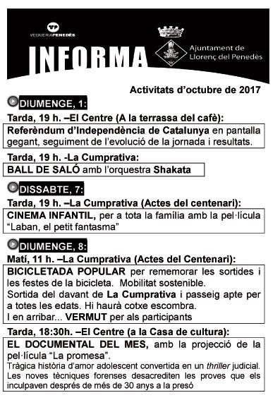 Esguard de Dona - Agenda Activitats Octubre 2017 Llorenç del Penedès pàgina 1